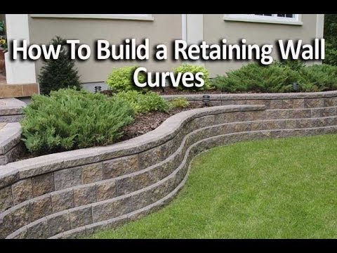 How to build retaining wall with curves youtube for How to build a block house