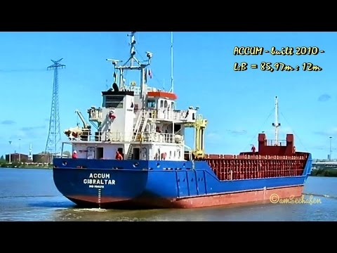 coaster ACCUM ZDKA8 IMO 9505314 in Emden sealock cargo seaship merchant vessel KüMo Seeschiff