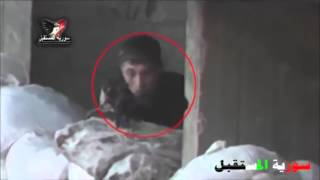 Syria War 2015   One of Syrian Rebels Shot Out By Assad Snipers in Daraa   JUNI 2015