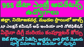 955 DATA ENTRY OPERATORS JOBS IN AP ELECTION COMMISSION OF INDIA WEF NOV 1ST DETAILS