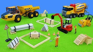 Excavator, Trucks & Tractor work at Building Site | Toy Vehicles Unboxing Movie for Kids