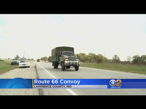 Military Vehicle Convoy Makes Its Way Along Route 66