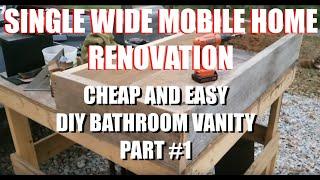 SINGLE WIDE MOBILE HOME RENOVATION CHEAP AMATURE DIY BATHROOM VANITY PART #1