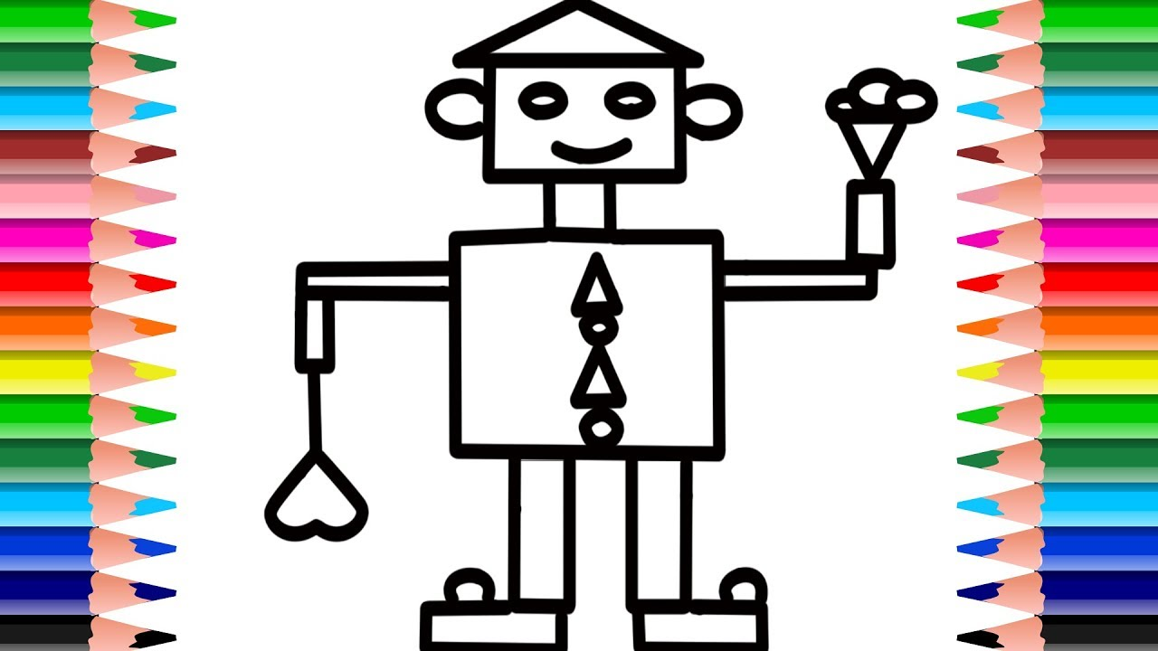 Robot Shapes Coloring Pages. Learn Colors And Drawing For