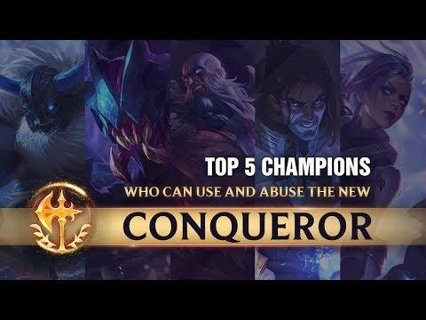 TOP 5 Champions Who Abuse Conqueror For Climbing | Season 9 League of Legends thumbnail