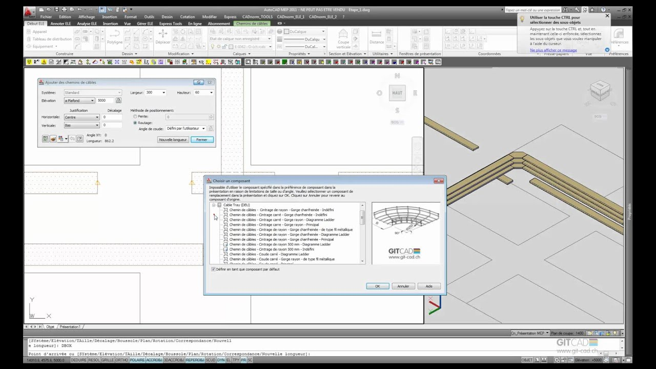 autocad mep 2011 d mo chemins de c bles avec cadnorm cvs e youtube. Black Bedroom Furniture Sets. Home Design Ideas