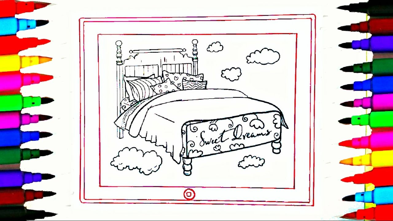 Coloring pages for bedroom - Coloring Pages Rainbow Bedroom On Ipad L Drawing Pages To Color For Kids L Learn Rainbow Colors