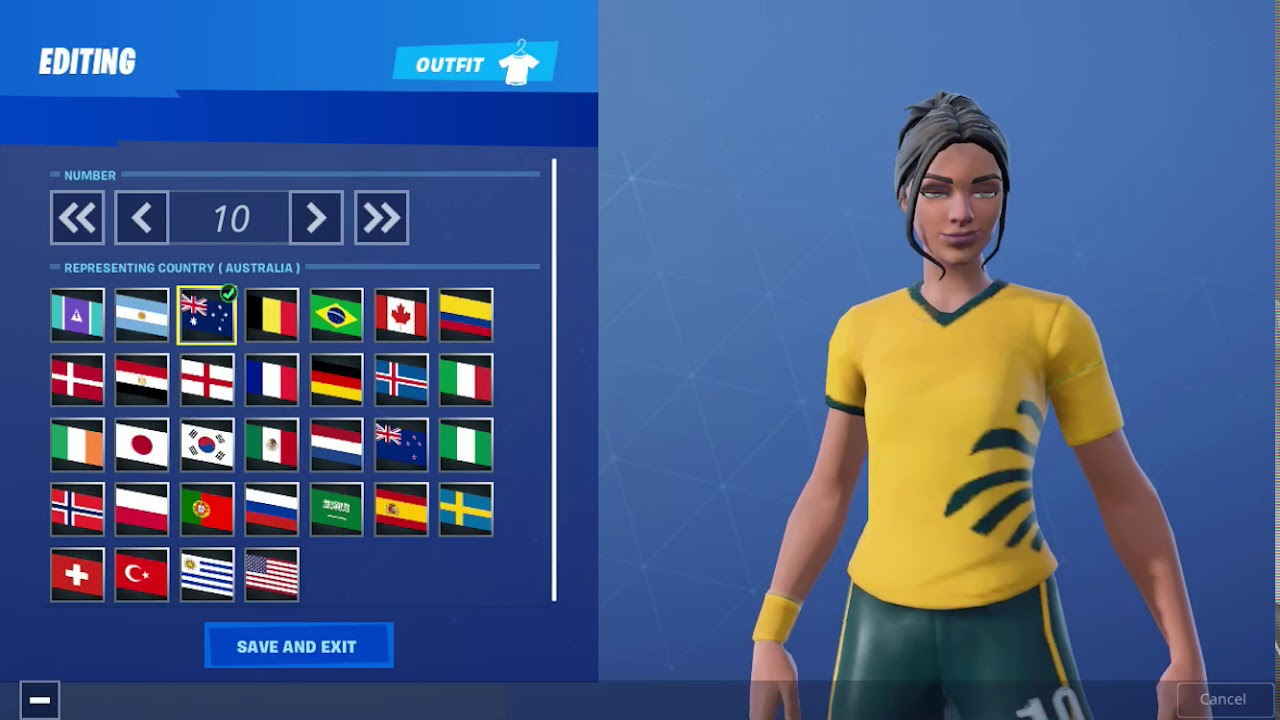 Fortnite All Countries And Colors For Poised Playmaker Soccer Skin Youtube
