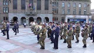 Massed military bands of National Cadet Corps Scotland march through City of Dundee April 2019