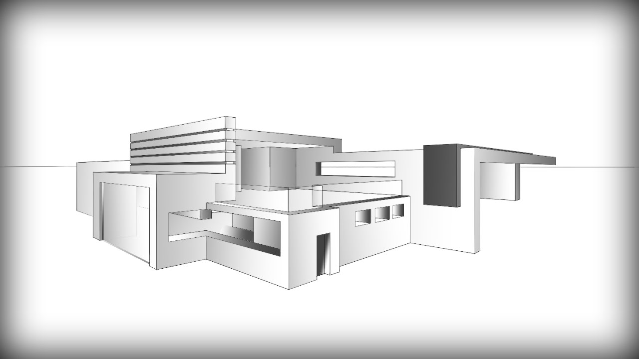 Architecture design 7 drawing a modern house youtube for Architecture modern house design 2 point perspective view