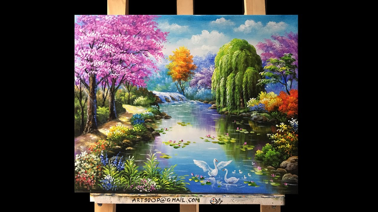 Beautiful Gardens And Flowers Acrylic Painting