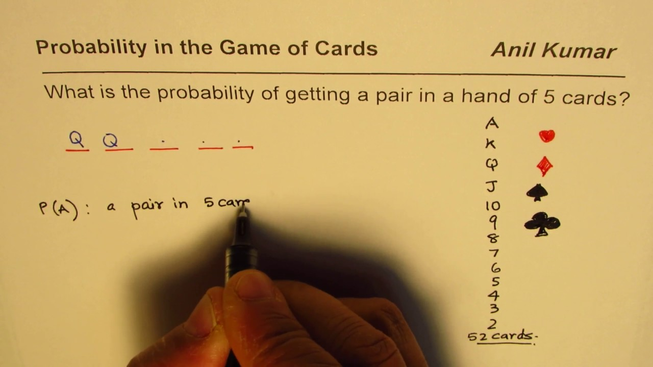 Find Probability Of A Pair In Hand Of 5 Cards