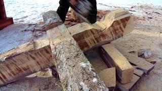 как изготовить ногу для избушки бабы - яги из дерева
