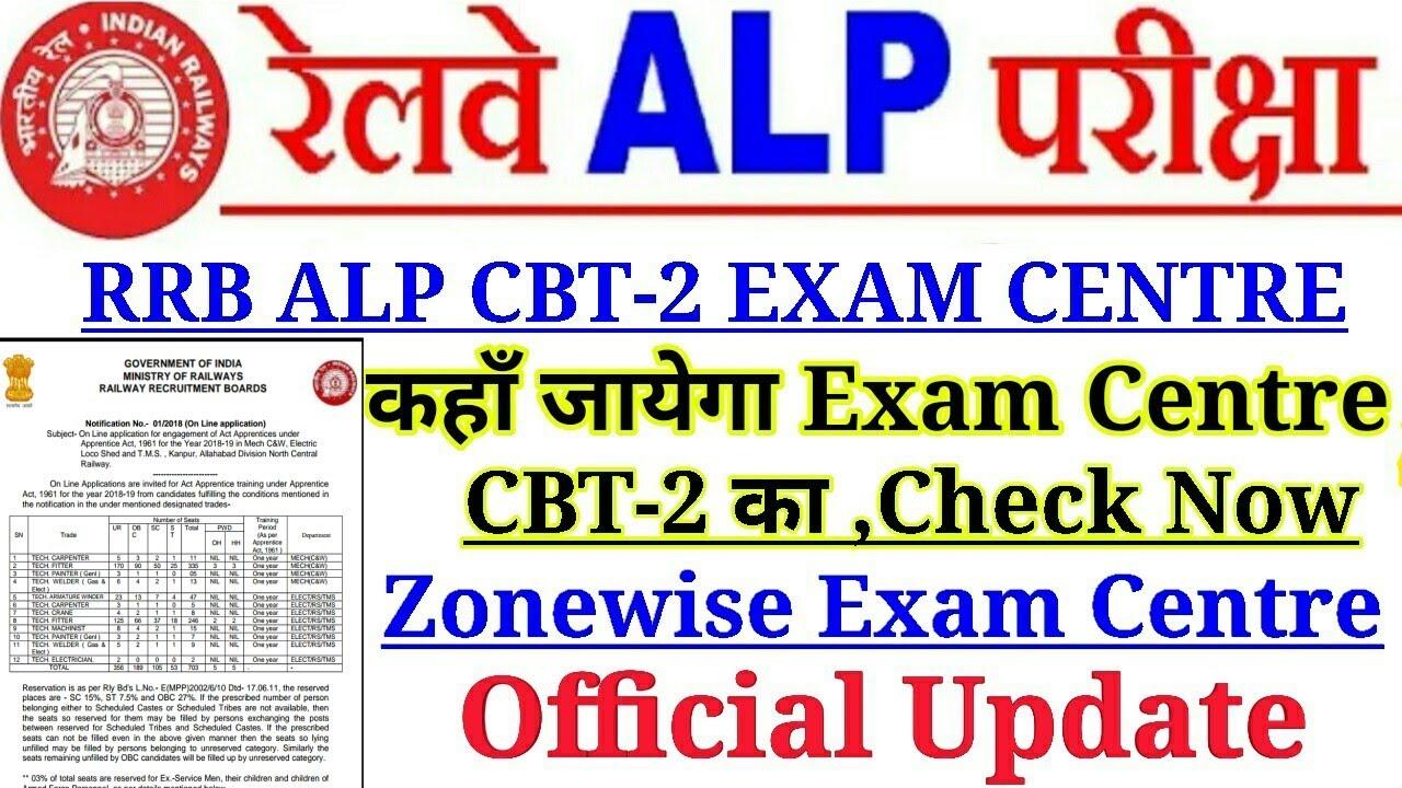 Railway Alp,Technician CBT-2 Exam Centre Check Your Zonewise Exam Centre Now