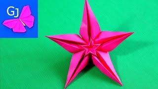 Оригами Цветок Звезда из бумаги(Оригами из бумаги Цветок Звезда - яркая и простая поделка для начинающих. Понравилось видео ставьте пальчи..., 2014-06-12T15:39:06.000Z)