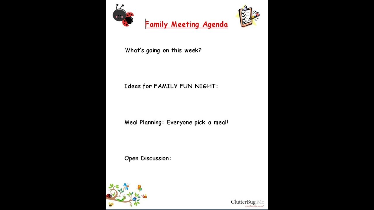 Family Agenda Family Meeting Agenda Items For Discussion Form