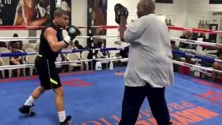 Maurice Lee shows his speed on mits at Mayweather Boxing Club for Floyd Mayweather Promotions fight