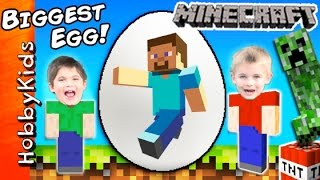 World's Biggest MINECRAFT Surprise Eggs! Steve + Creeper Toys, Family Fun by HobbyKidsTV(This idea created by HobbyKidsTV. Biggest Minecraft Steve egg! Watch out for the Creeper. The HobbyKids are using Minecraft bow and arrows to stop him., 2016-02-11T13:00:01.000Z)