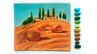 """Видео урок рисования пастелью """"Тосканский пейзаж"""" (Превью)"""