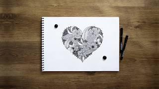 Step by step drawing zenart heart | Шаг за шагом  рисование зенарт сердечка