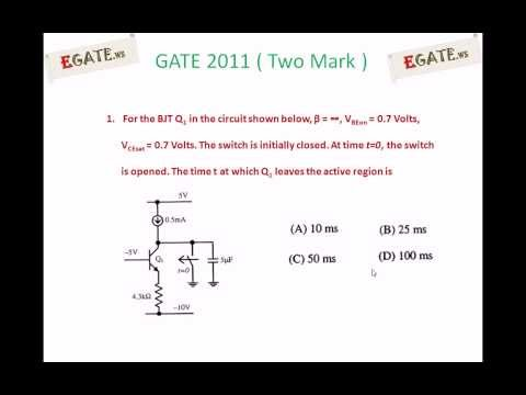 Problem on BJT switch - GATE 2011 Solved paper (Electron Devices) - (www.egate.ws)