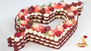 😍Trend Cake 2018! Red Velvet Cream Tarte, Number Cake ❤️ Valentinstag Edition