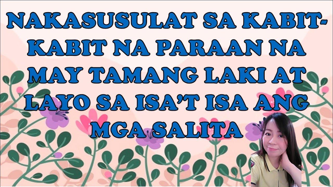 Grade 2 Filipino Quarter 2 Week 3 Nakasusulat Sa Kabit Kabit Na Paraan Na May Tamang Laki At Layo Youtube