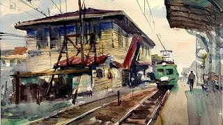 The Old Train Station |  古き良き駅舎を水彩で描く | Watercolor demonstration thumbnail