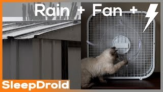 Gambar cover ►4k Video. FAN SOUND / RAIN & THUNDER on Tin Roof. 3 hours -Box fan sounds with rain on a metal roof
