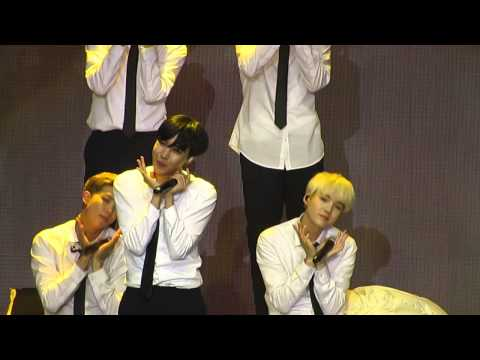 020815 Jin and Jimin almost fell -  blanket kick BTS TRB in Chile