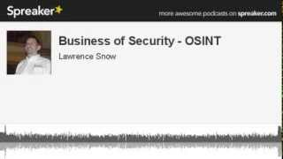 Business of Security - Open Source Intelligence Tools