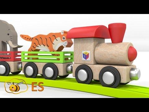 Los Animales Salvajes Para Niños. Los Trenes Para Niños. Dibujos Animados En Español