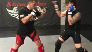 Sugar Ray Sefo sparring highlight showing off just a few weapons in the arsenal at Xtreme Couture