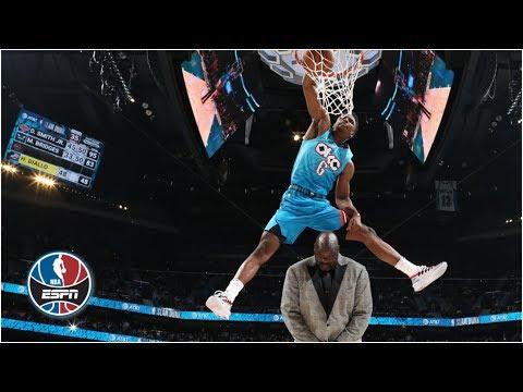 Hamidou Diallo jumps over Shaq, puts elbow in rim in dunk contest win | NBA All-Star 2019