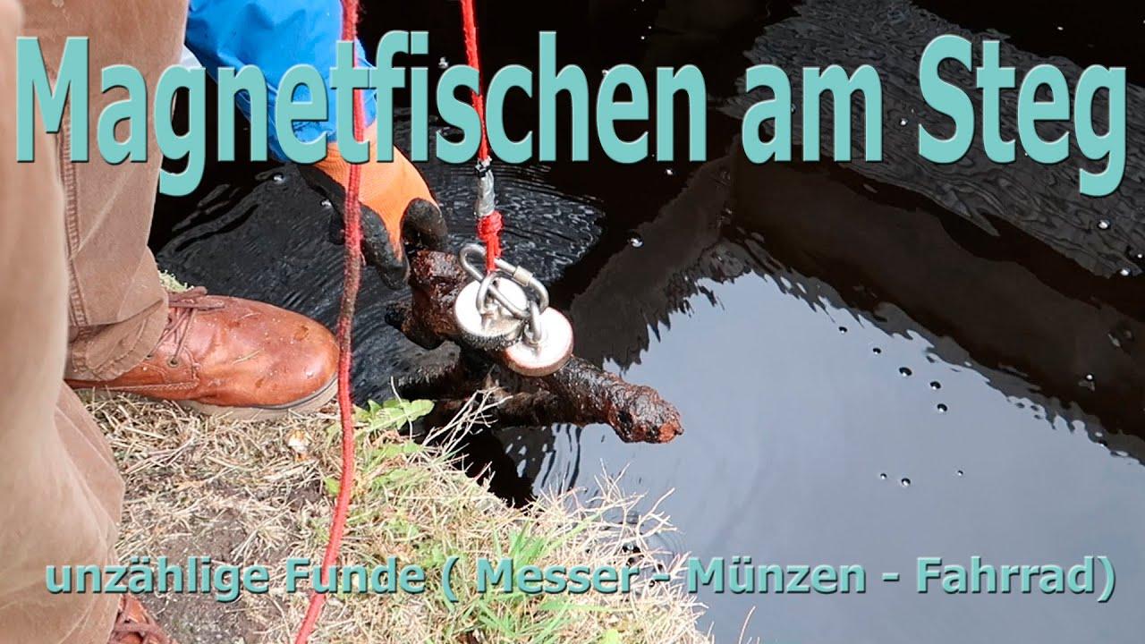 Magnetfischen am STEG (unzählige Funde - MESSER - MÜNZEN)