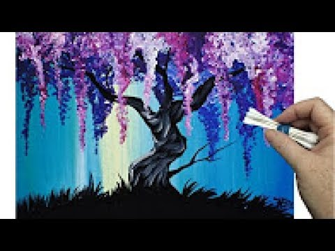 Acrylic Wisteria Willow Tree Q Tip Painting Technique For BEGINNERS EASY Acrylic Painting