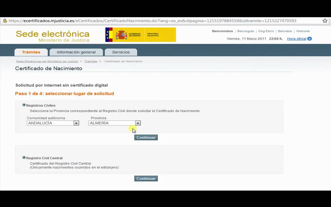 Solicitar Certificado de Nacimiento - YouTube