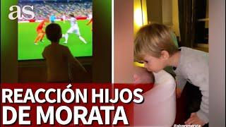 La reacción de los hijos de Morata al doblete de su padre en Champions | Diario AS