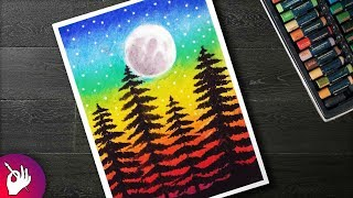 How to draw Silhouette Moon scenery drawing with oil pastels for beginners