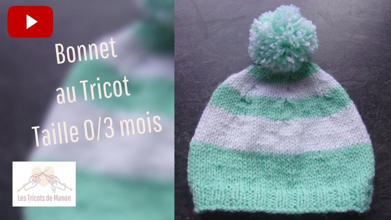 18aa2fcc95a Bonnet 0 3 mois au tricot - YouTube