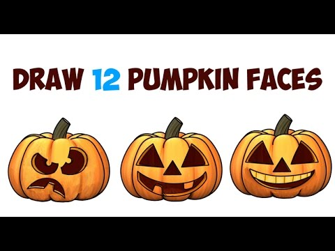 how-to-draw-pumpkins-&-pumpkin-faces-&-jack-o'lantern-faces-&-expressions-for-kids-on-halloween-easy