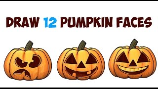 How to Draw Pumpkins & Pumpkin Faces & Jack O