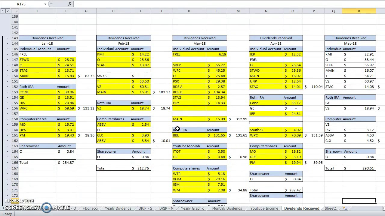 the spreadsheet i use to track my 250 000 stock portfolio