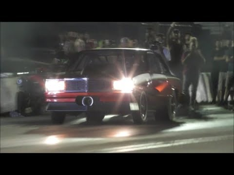 Daddy Dave in a small tire Procharged Malibu test hit at Armageddon