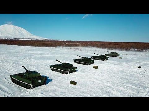 Морская пехота Тихоокеанского флота отрабатывает артиллерийские стрельбы