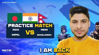 FREE FIRE INDIA VS MENA SERVER BIGGEST CLASH WAR PRACTICE MATCHES   - FREE FIRE LIVE