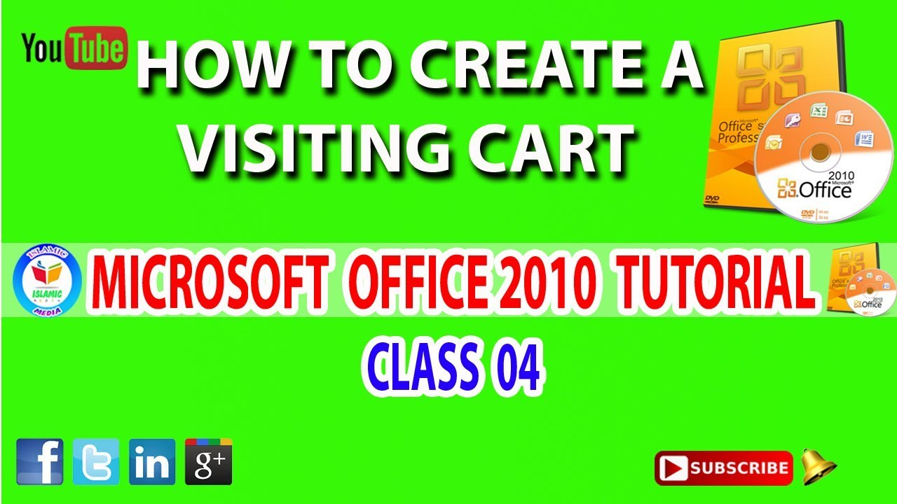 microsoft office word 2010 tutorial class 04 in tamil - how to create  visting cart in tamil