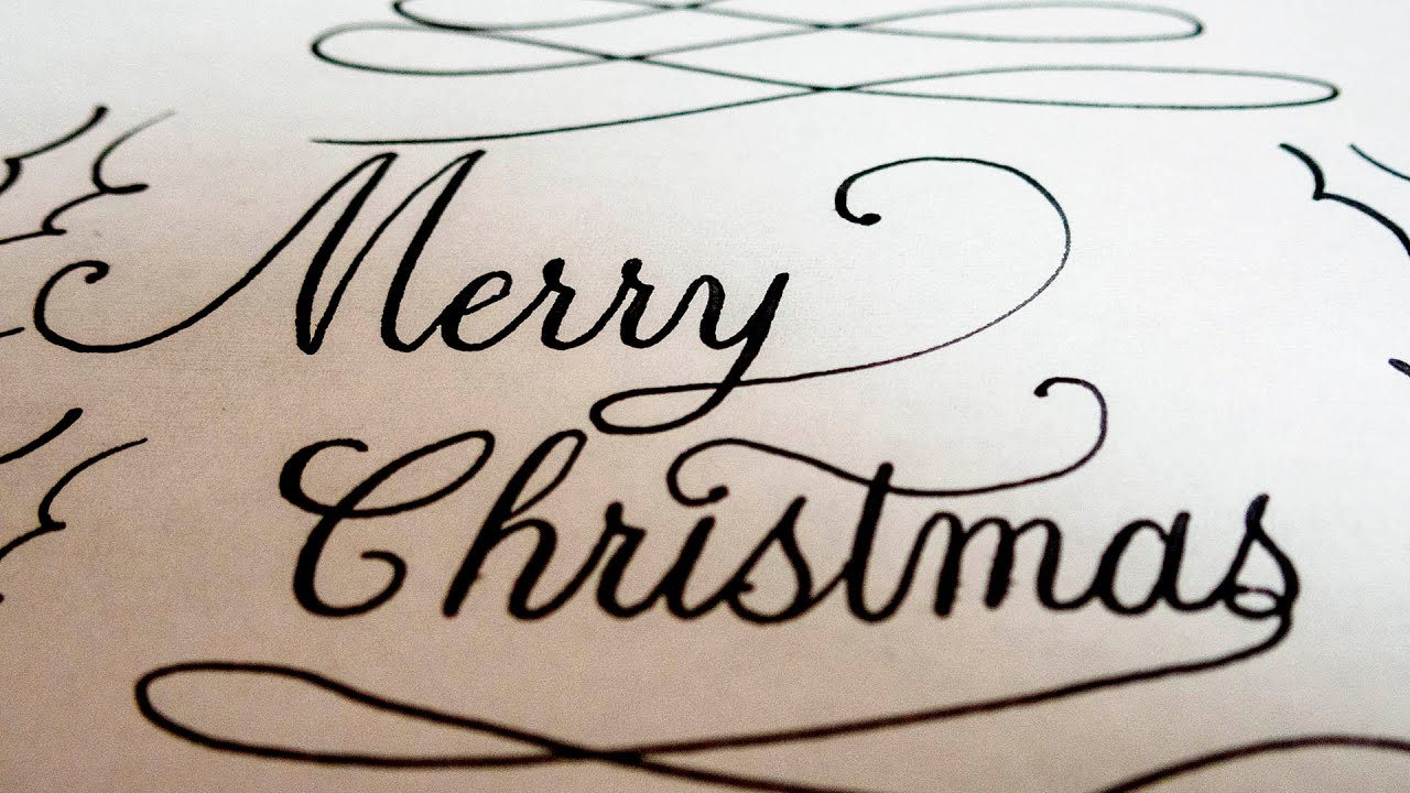 Merry Christmas In Cursive.Fountain Pen Writing Merry Christmas