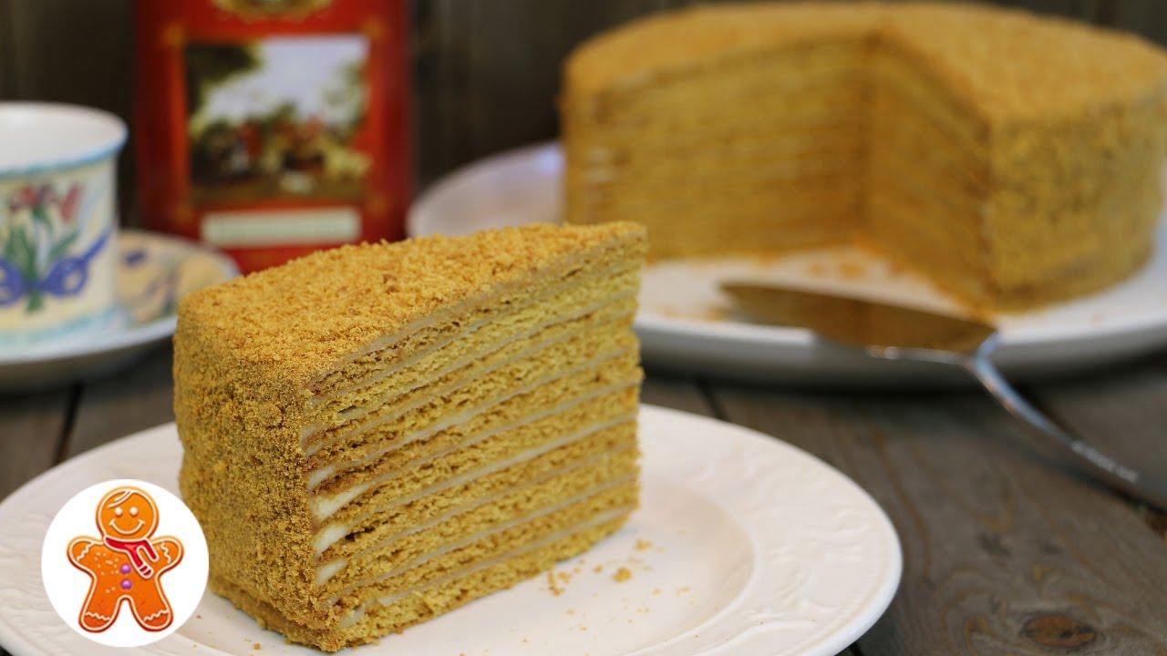 Медовый торт с нежным кремом на вареной сметане