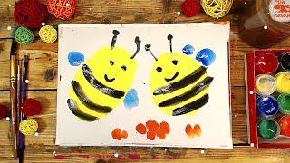 Как нарисовать ПЧЕЛ / урок рисования для детей КРАСКАМИ ГУАШЬ